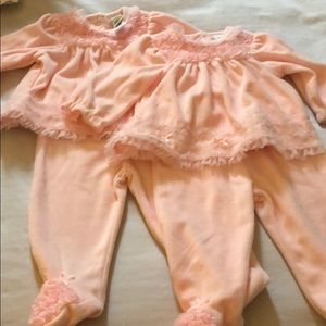 NWT 2 sets of Little Me pink ruffle sets